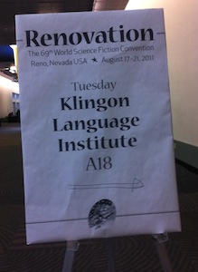 Sign for the Klingon Language Institute
