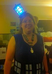 Woman dressed as a TARDIS