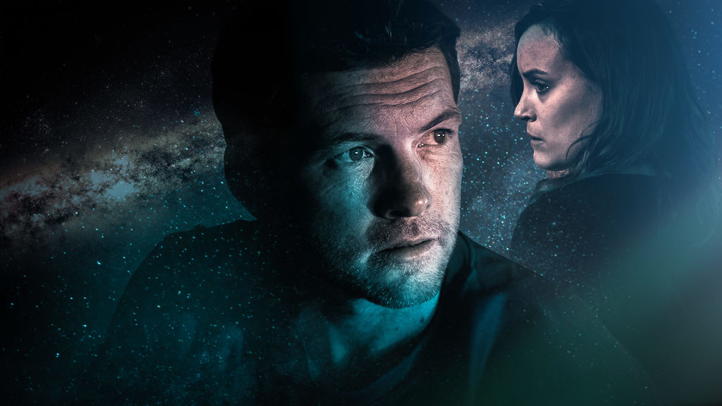 Stars Sam Worthington and Taylor Schilling shown on background of stars.