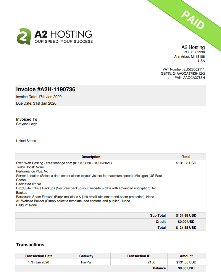 Paid A2 Hosting invoice for annual Swift Web Hosting service